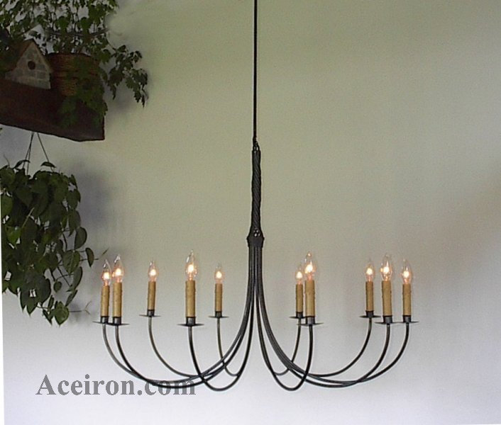 Ace wrought iron custom large wrought iron chandelier 10 arm ace wrought iron custom large wrought iron chandelier 10 arm twisted 36 inch dia by clayton j bryant mozeypictures Image collections