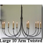 click here for Large 10 Arm Twisted Wrought Iron Chandelier