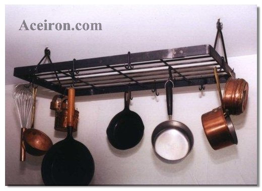 All Accessories Are Lied With Clear Satin Lacquer To Maintain A Natural Iron Finish Rectangle Hanging Pot Rack