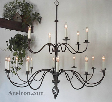 Large Ivory Wrought Iron Chandelier