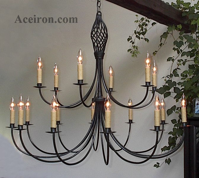 ace wrought iron chandelier two tier 41 inch dia twisted basket by clayton j bryant - Wrought Iron Chandelier