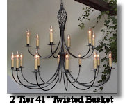 click here for 2 Tier Twisted Basket Wrought Iron Chandelier Page