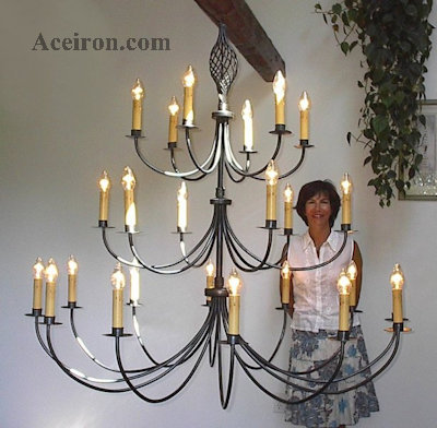 ace wrought iron custom large twisted basket wrought iron chandelier 60 inch dia 24 arm 3 tier by clayton j bryant - Wrought Iron Chandelier