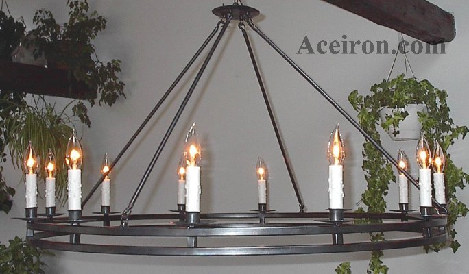 Large Wrought Iron Chandelier: Large Wrought Iron Chandelier, Double Ring 12 light, 41 Inch Dia.,Lighting