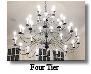 click here for Large 36 Arm 4 Tier Wrought Iron Chandelier