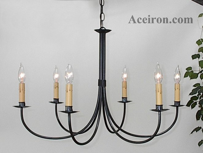 Ace Wrought Iron Plain Six Arm Chandelier By Clayton J Bryant