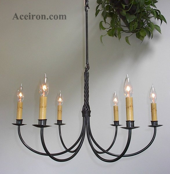 Here For A Larger Picture Electric Six Arm Twisted 6600 Wrought Iron Chandeliers