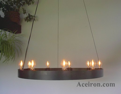 Ace Wrought Iron Custom Harpoon 18 Light Ring Chandelier By Clayton J Bryant
