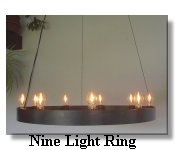 click here for Nine Light Ring Wrought Iron Chandelier