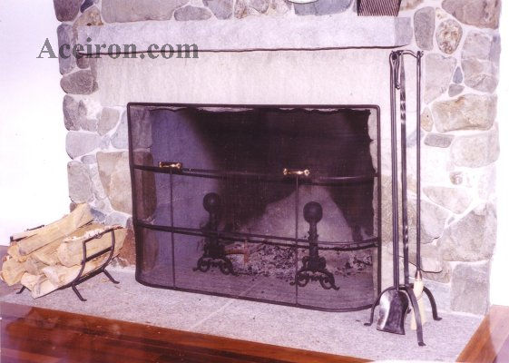 Ace wrought iron custom fireplace tools fireplace for Custom wrought iron fireplace screens